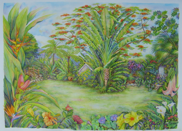 Watercolor Garden of Eden