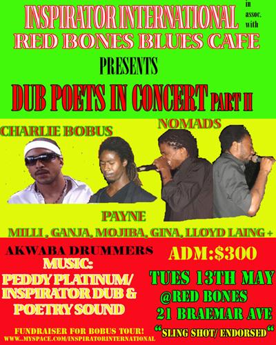 Dub Poets show May 13