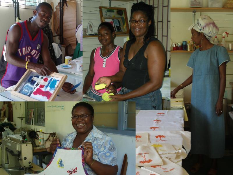 Clockwise Kirk, silkscreener, Lisa and Pauline, printers, Soissette, texiles expert and marketing representative and Maxine, seamstress.
