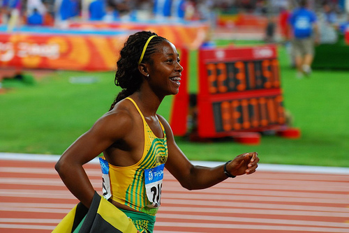 Gold medal winner Shelly-Ann Fraser