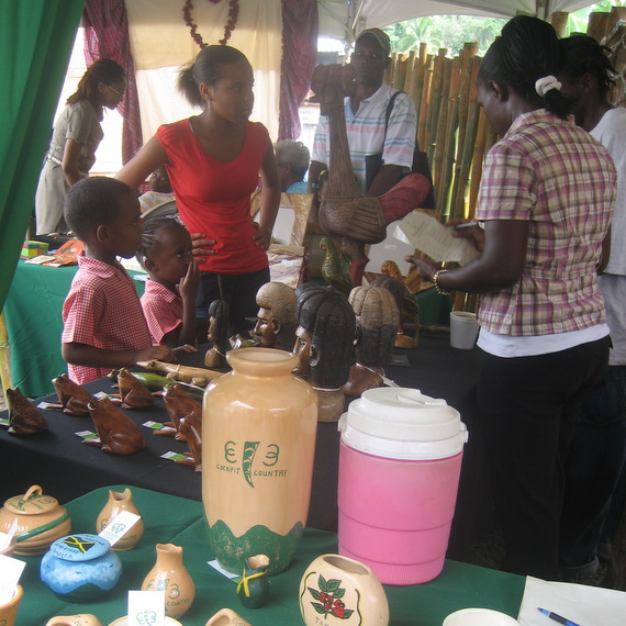 Vendors selling locally produced ceramics with the Cockpit Country logo