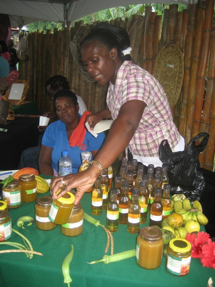Vendors at the craft village selling locally produced jams and sauces