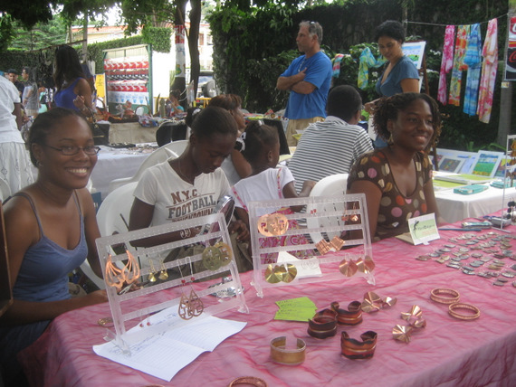 Kima Francis and friends selling jewellry