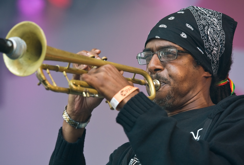 Trumpeter Kevin Batchelor of the Jamaican ska band The Skatalites playing at Parkpop, the largest free pop festival in Europe.