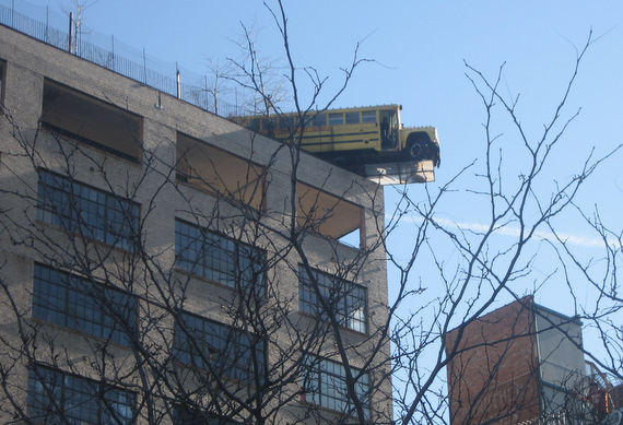 The view from the parking lot- and yes again, that's a bus hanging of the edge