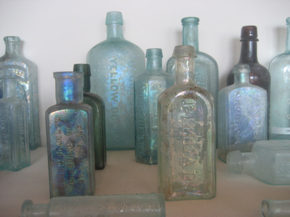 Old city bottles on display