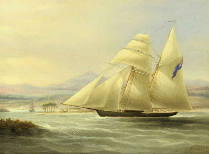H.M.S. Pickle off Port Royal, Jamaica. Fort Charles and the Old Naval Hospital at Port Royal can clearly be seen in the background to the left. From an Oil Painting by William John Huggins, 1841. Private Collection.