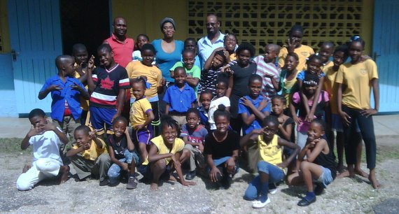 "Safi, Halleem and Kofi with the Mount James All Age School ""AIR YOUR SCHOOL"" Cast. photo by... Karin Wilson"