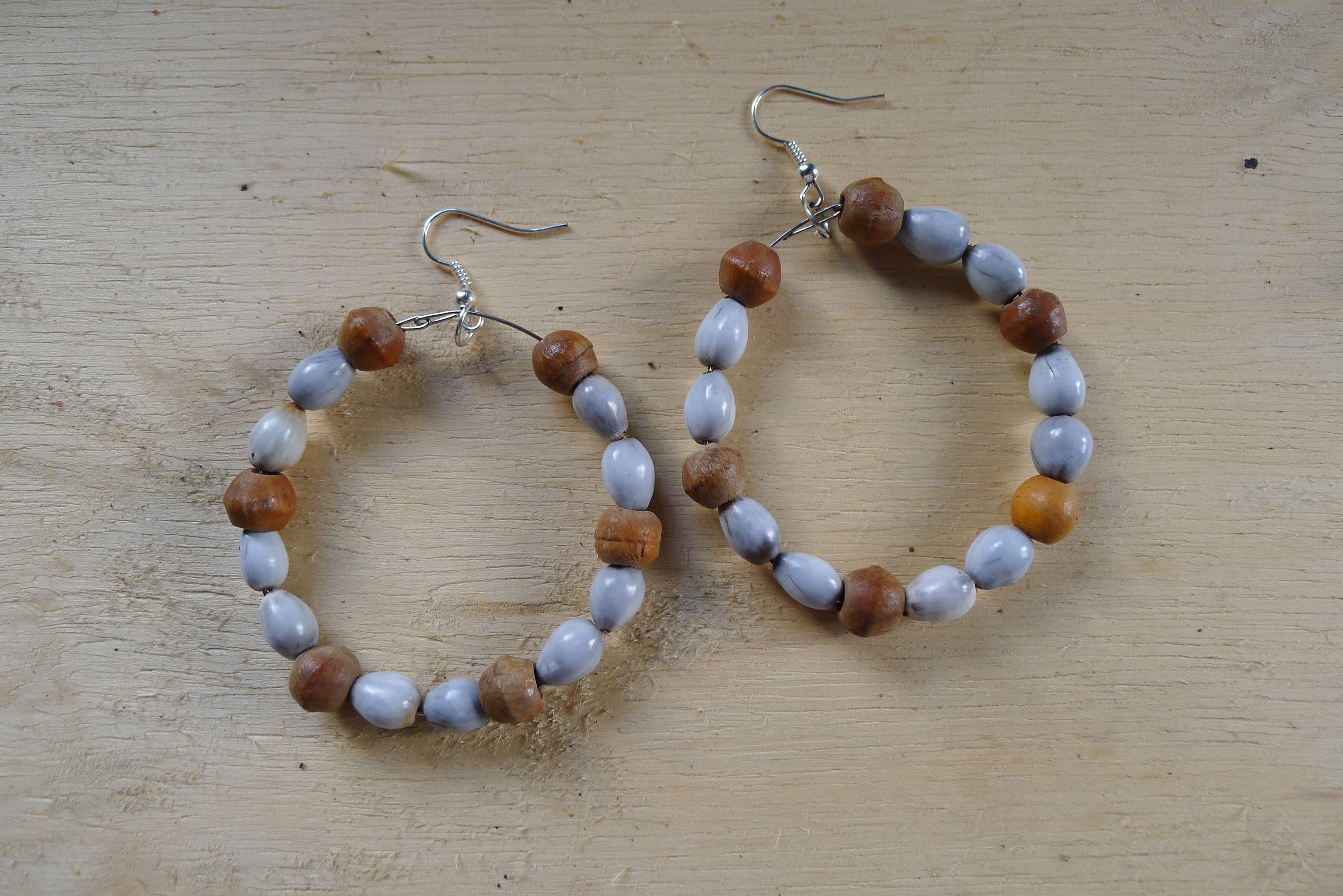 Earrings made from local beads, Craft Shop, Charles Town, Portland